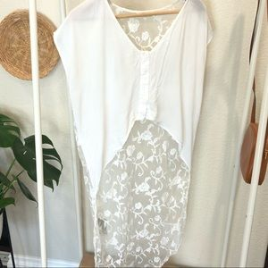 Millau high-low lace white crop top size S
